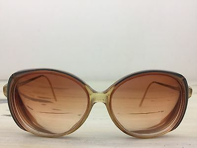 VINTAGE GRANDMA GLASSES - 1970s Brown Plastic & Gold Metal Big Oval Frames