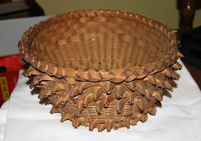 """Great vintage basket loaded with curls 12"""" diameter 5"""" tall"""