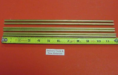 """6 Pieces of 1/4"""" C360 BRASS SOLID ROUND ROD 12"""" long .250"""" Lathe Bar Stock"""