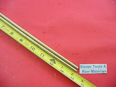 """2 Pieces of 1/4"""" C360 BRASS SOLID ROUND ROD 14"""" long .250"""" Lathe Bar Stock"""