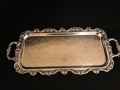 Vintage Old English Sliverplate Rectangular Serving Tray w/feet by Poole #5031