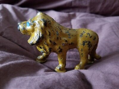 Antique Cast Iron Safari Lion Paperweight Small Figurine