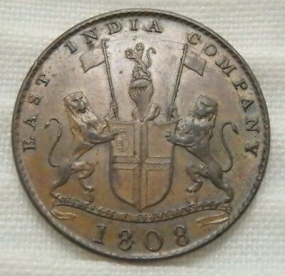 1808 Madras Presidency British East India Company X Ten Cash Copper AU