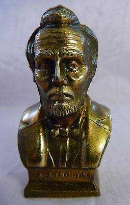 """Vintage Abraham Lincoln Miniature Bronze Brass Colored Bust Statue 2 3/4"""" Tall"""
