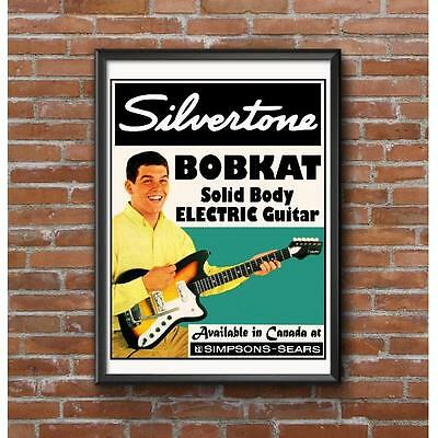 Silvertone Bobkat Solid Body Electric Guitar Poster - Simpson Sears Stores