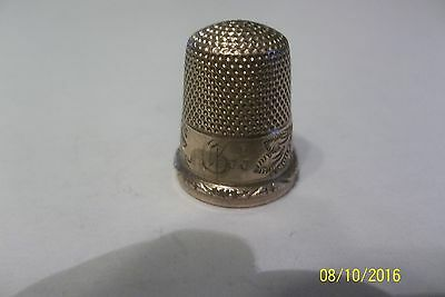 Antique English 14K Gold Thimble With Detailed Floral Design 4.7 Grams Size 8