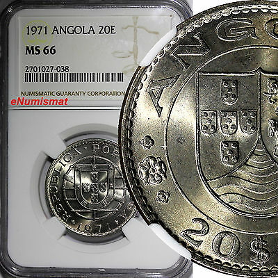 Angola Nickel 1971 20 Escudos NGC MS66 GEM BU TOP GRADED BY NGC KM# 80