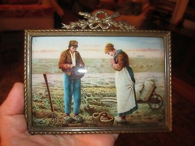 19th Century Miniature Reverse Glass Print of Country Scene with Brass Frame