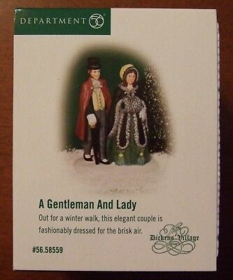 Dept 56 A Gentleman and a Lady 58559 NEW in Box Out for a Winter Walk Dickens