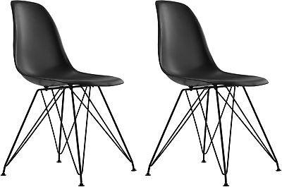 Dorel Black And #160;Mid Century Modern Molded Chair With Coloured Leg, Set
