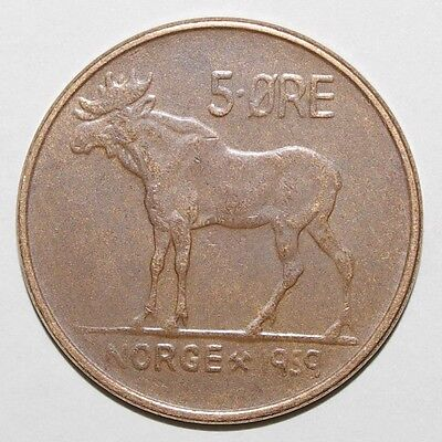 1959 5 Ore Norway High Value Coin