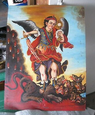Original Vintage Oil Painting On Tin Archangel Michael Slaying The Dragon