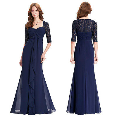 Navy Blue Lace Bridesmaid Prom Formal Evening Gown Mother of the Bride Dress FUL