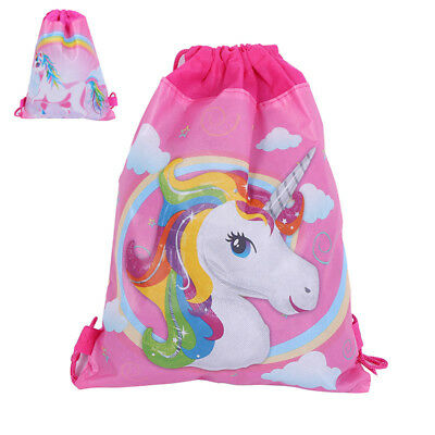 Unicorn Drawstring Backpack Girls Princess Swim Kids Shoes Party Backpack Bag E2