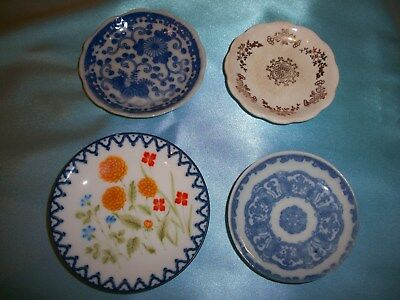 Vintage Assorted Butter Pats Set of Four Blue White Gold