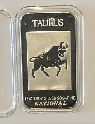 Taurus 2nd Astrological Zodiac Sign 1 Troy Oz .999 Fine Silver Ingot Bar Medal