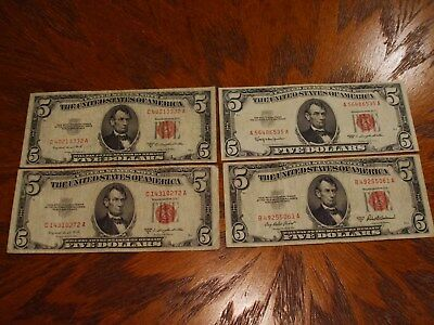 4- $5 U.s Notes,2-1953-B,1-1953A & 1-1963,all Red Seals,great Eye Appeal