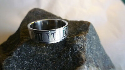 Vintage Roman Numeral Ring I to XII Size 12-1/4 Brushed Polished Stainless Steel