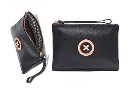 Mimco Black rose gold Medium supernatural Soft Leather Pouch