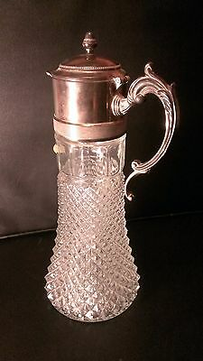 Vintage Genuine Crystal and Silver Plate Pitcher by Leonard Italy