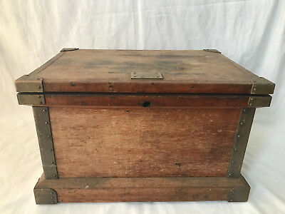 "C. 1920 Antique Lift-Top Tool Oak Chest Iron Handles / ""from Foxcroft Maine"""
