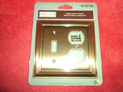 Antique Brass Toggle Switch 2 Gang Duplex Single Light Switch Wall Plate Cover