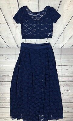 Balera Dancewear Blue Lace Top Skirt Dance Costume Contemporary Large Child LC