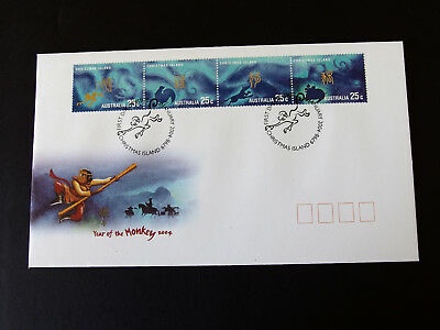 Christmas Island - 2004 Year of the Monkey 4 x 25c stamps First Day Cover