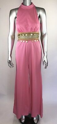 Vintage Jcpenny Fashions Jumpsuit 70s Pink Gold Sleeveless Bell Bottoms