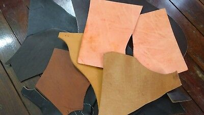 Craft lot of leather hide pieces 1.7kg - thick cow hide