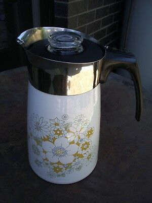 Vintage Corning Ware Floral Bouquet 9 Cup Stove Top Percolator