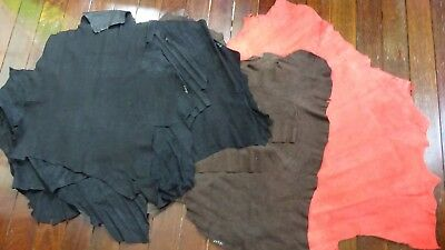 Craft lot of leather hide pieces 1.5kg - thin kangaro suede