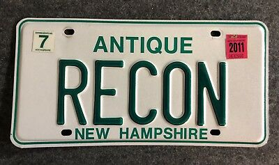 2011 NEW HAMPSHIRE Antique Vanity License Plate Tag 11 NH RECON Military