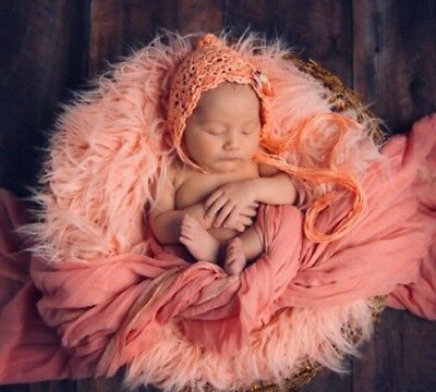 "Faux Fur 20""x20"" peach soft fur Mongolian Newborn Photography Blanket!!"