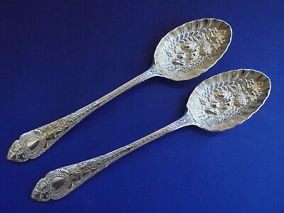 PAIR ENGLISH SILVER PLATE BERRY SPOONS SHEFFIELD c1900 GREAT CONDITION
