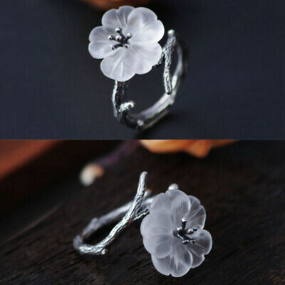Women Vintage Silver Plated Adjustable White Flower Tree Branch Open Wrap Ring