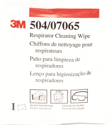 3M RESPIRATOR CLEANING WIPES Box Of 100Pcs Pre-Moistened Towelettes *USA Brand