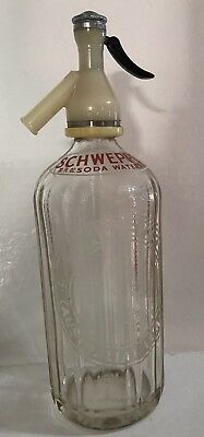 Vintage Collectible Schweppes Soda Siphon Bottle Art Deco Glass