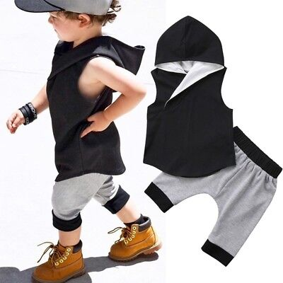 AU Toddler Infant Kids Newborn Baby Boys Hooded Tops+Shorts Pants Set Clothes