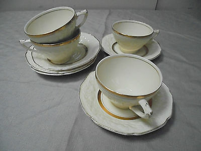CROWN DUCAL FLORENTINE.  4 cups & 5 saucers.