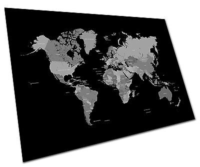Black White World Map Wall Art Large A2 Poster 23 X 16.5 Inch