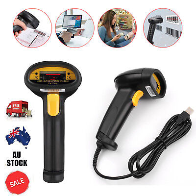 2M Cable Laser Barcode Scanner USB Port Bar Code Reader Decoder for Computer AUS