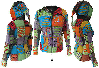Patchwork Hippie Embroidery Slashed Ladies Cotton Pointy Elf Hood Jacket