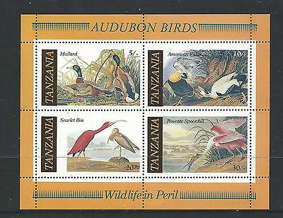 Tanzania 1986 Minisheet  Audubon Birds set of 4 Complete MUH/MNH as Issued