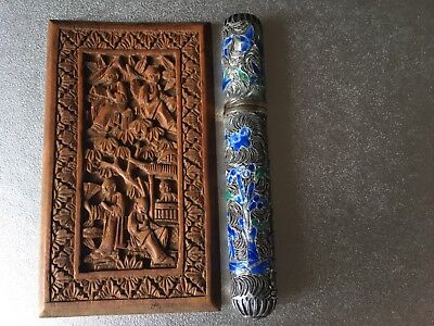 Lot Of Two Chinese Items Sterling Silver Cloisonné Case Box And Wooden Carving