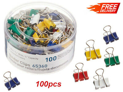 100Pcs Mini Binder Clips Assorted Colors Document Holder Home Office Organizer