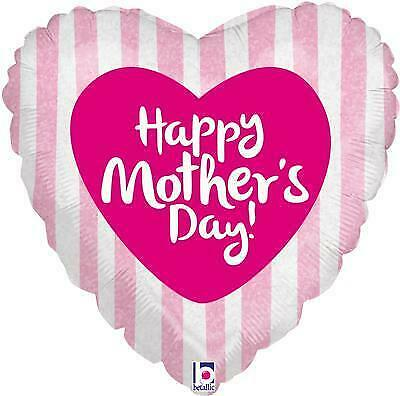 """Happy Mothers Day Pink Stripes 18"""" Foil Holographic Heart Balloon"""