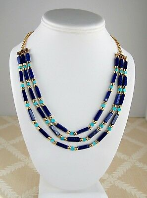 """Egyptian Triple Strand Rectangular Lapis Bead  Necklace Set 18"""" with Earrings"""