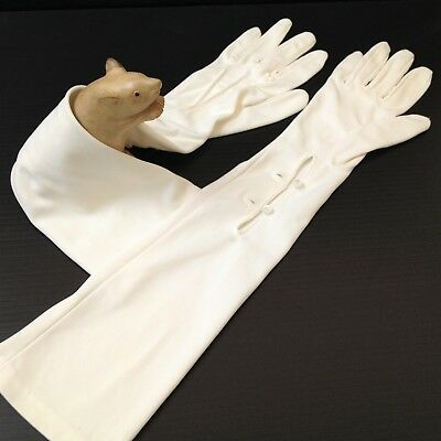 Vintage - Long White Formal Evening Gloves - Slim Fit w Buttoned Wrist - Sm Hand