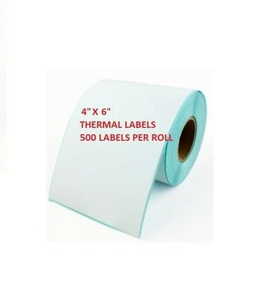 """4"""" x 6"""" Thermal Labels 101.6 x 152.4mm 500/Roll for Zebra, Citizen, Toshiba"""